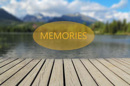 memories text, mountain lake in the background