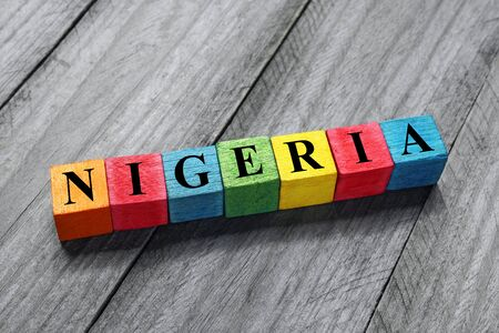 Nigeria text on colorful wooden cubes Stock Photo