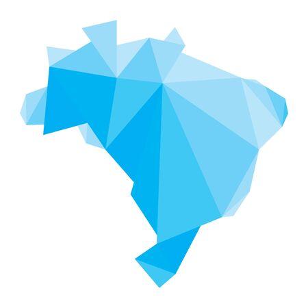 brazil map: blue polygonal Brazil map