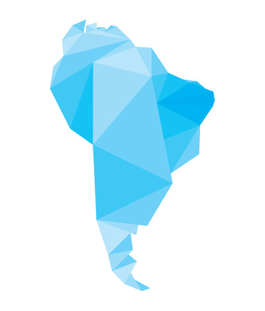 south america: blue polygonal South America map