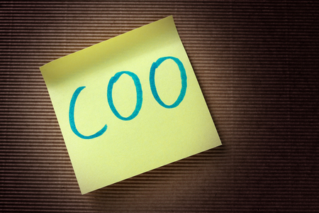 coo: COO Chief Operating Officer acronym on yellow sticky note Stock Photo