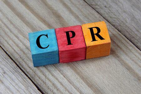 cardiopulmonary resuscitation: CPR Cardiopulmonary Resuscitation acronym on colorful wooden cubes Stock Photo