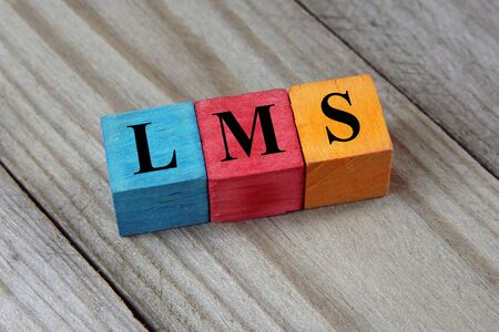 competences: LMS Learning Management System acronym on colorful wooden cubes