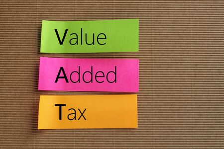 are added: Value Added Tax (VAT) text on colorful sticky notes