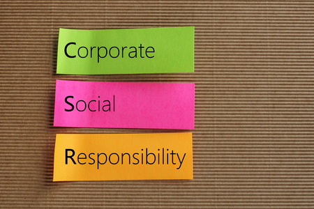 responsibility: Corporate Social Responsibility (CSR) text on colorful sticky notes Stock Photo