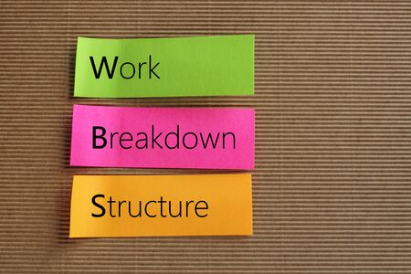 breakdown: WBS, Work Breakdown Structure text on colorful sticky notes