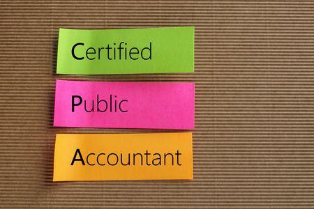 cpa: Certified Public Accountant (CPA) text on colorful sticky notes