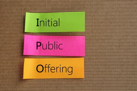 public offering: Initial Public Offering (IPO) text on colorful sticky notes Stock Photo
