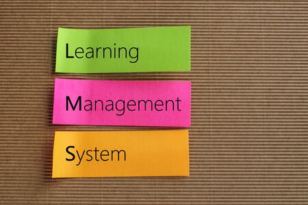 competences: Learning Management System (LMS) text on colorful sticky notes