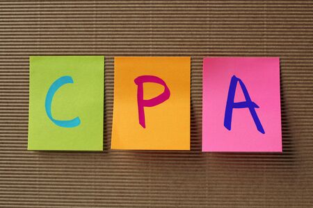 cpa: CPA (Certified Public Accountant) acronym on colorful sticky notes