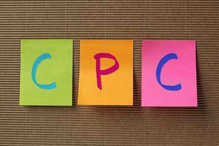 cpc: CPC (Cost Per Click) acronym on colorful sticky notes