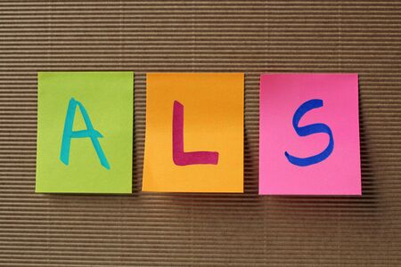 als: ALS acronym on colorful sticky notes