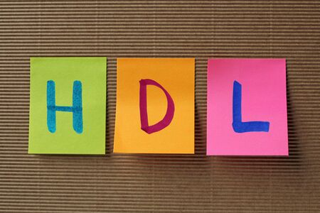 good cholesterol: HDL acronym on colorful sticky notes