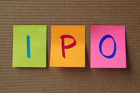 stock market launch: IPO acronym on colorful sticky notes Stock Photo