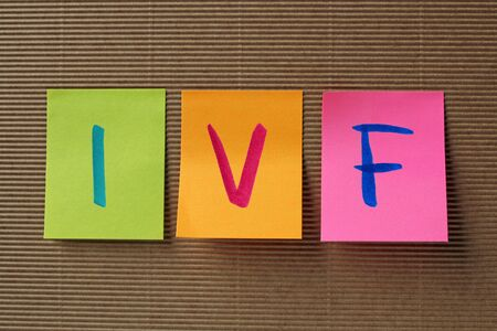 ivf: IVF acronym on colorful sticky notes