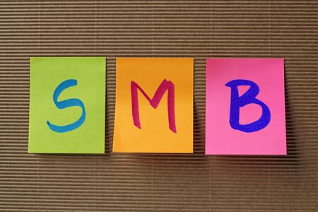 SMB acronym on colorful sticky notes