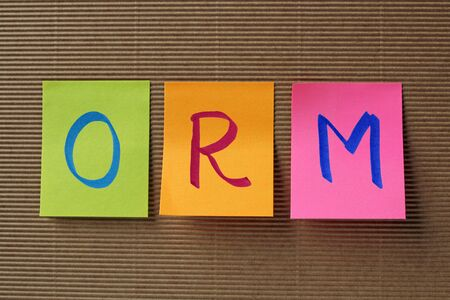acronym: ORM acronym on colorful sticky notes