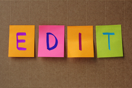 rewrite: edit text on colorful sticky notes Stock Photo