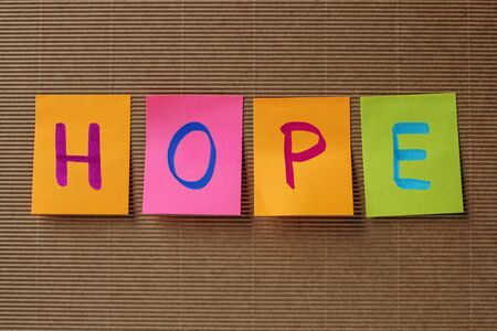 hopefulness: Hope text on colorful sticky notes Stock Photo