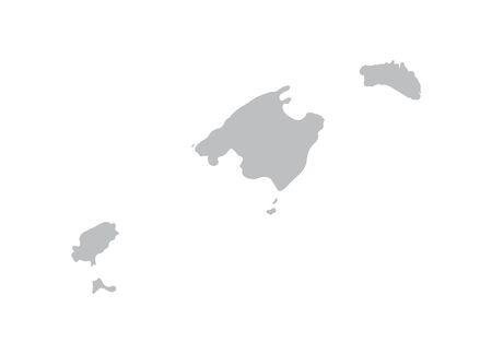 gray map of Balearic Islands Vetores
