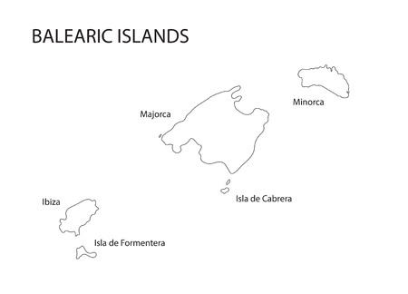majorca: outline map of Balearic Islands