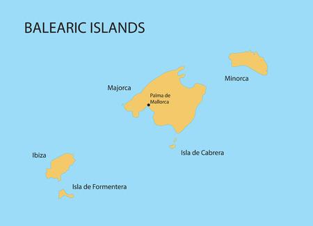 Îles Baléares map avec indication de Palma de Mallorca