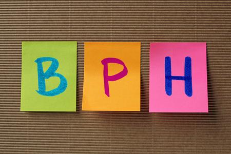 benign: BPH (Benign Prostatic Hyperplasia) acronym on colorful sticky notes