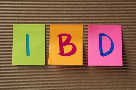 bowel: IBD (Inflammatory Bowel Disease) acronym on colorful sticky notes