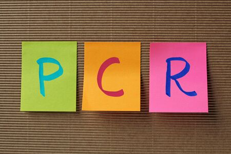 polymerase: PCR (Polymerase Chain Reaction) acronym on colorful sticky notes