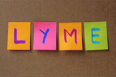seasonality: Lyme (Lyme borreliosis) text on colorful sticky notes