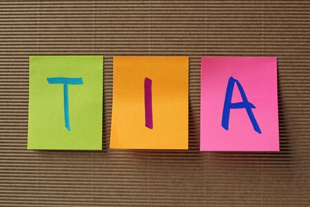 transient: TIA (Transient Ischemic Attack) acronym on colorful sticky notes Stock Photo