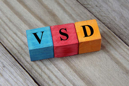 congenital: VSD (Ventricular Septal Defect) acronym on wooden background