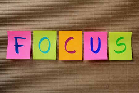 focalise: focus word on colorful sticky notes