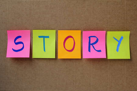 narrate: story word on colorful sticky notes Stock Photo