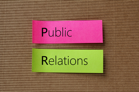 public relations: Public Relations text on colorful sticky notes Stock Photo