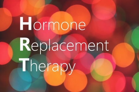 progesterone: Hormone Replacement Therapy (HRT) text on colorful background bokeh
