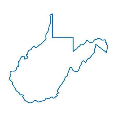 blue abstract outline of West Virgina map Illustration
