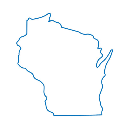 abstract blue outline map of Wisconsin Ilustração