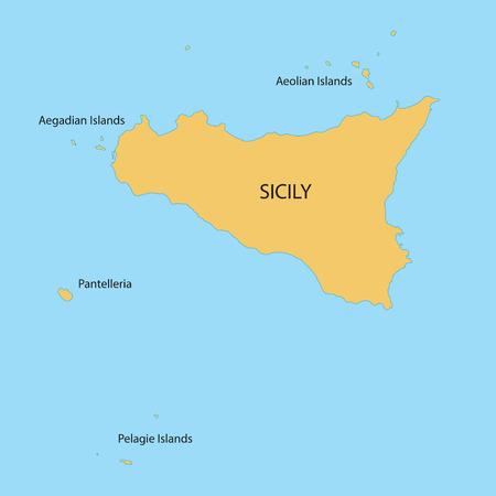 sicilia: yellow map of Sicilia Illustration