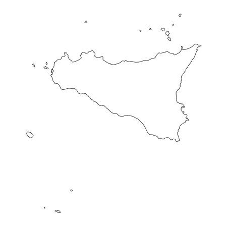 black outline map of Sicilia