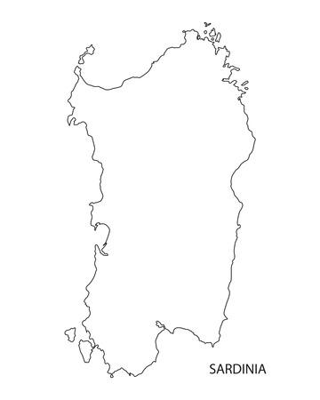 sardinia: black outline map of Sardinia