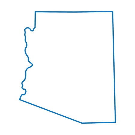 territorial: blue abstract outline map of Arizona Illustration