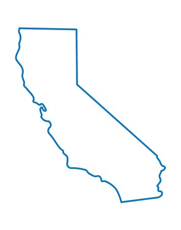 Blue Abstract Outline Map Of California Royalty Free Cliparts