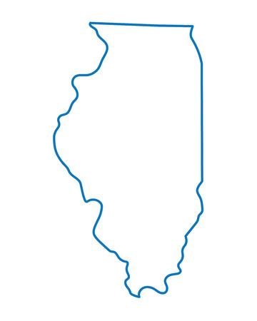 イリノイの地図のブルーの抽象的な概要