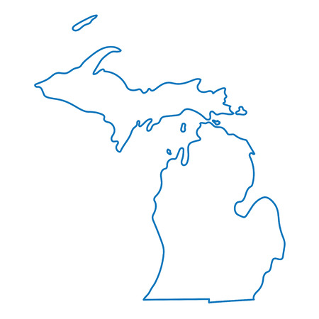 blue abstract outline map of Michigan