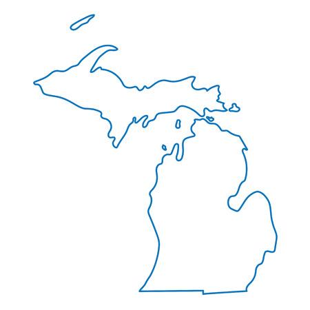 blue abstract overzichtskaart van Michigan