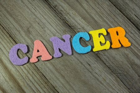 cytology: cancer word on wooden background