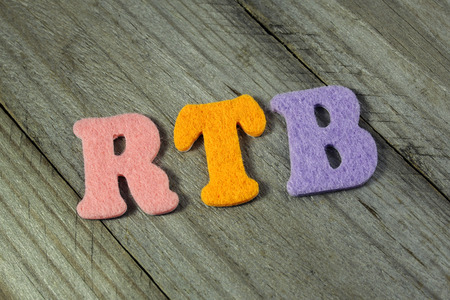 realtime: RTB (Real-time bidding) acronym on wooden background Stock Photo