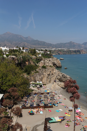 burriana beach: Nerja famous resort on the Costa del Sol, Malaga, Spain
