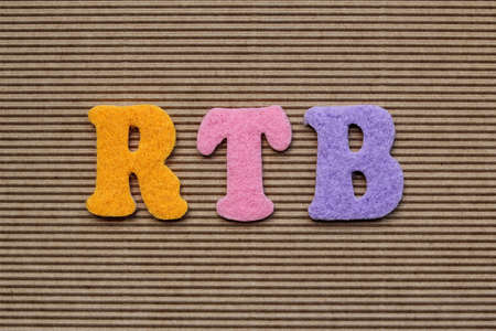 realtime: RTB (Real-Time Bidding) acronym on cardboard background Stock Photo